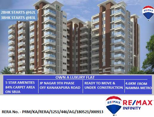 Own A Luxury Flat in JP Nagar Starts @62L