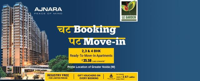 Ajnara Le Garden 2 bhk booking for Call Us 919071760760