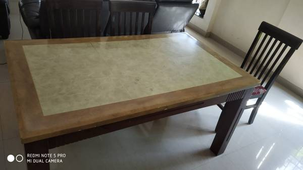 Marble top 6chairs dining set & matching marble top coffee
