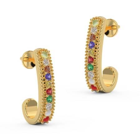Buy Navratna Jewellery In Gold | Neer Navratna Earrings