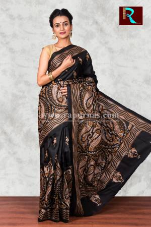 Kantha Stitch Work on Pure Bangalore Silk Saree for party