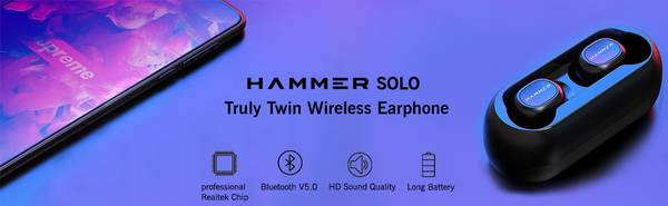 Hammer Solo Truly Twin Wireless Bluetooth Earbuds With Mic