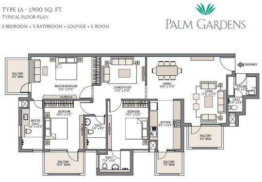 Palm Garden 3BHK Servant apartments in Sector 83