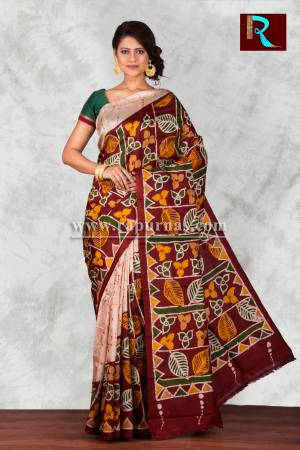 Hand Batik on Pure Silk Saree for festive wear