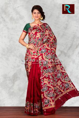 Hand Batik on Pure Silk Saree for special occasion wear
