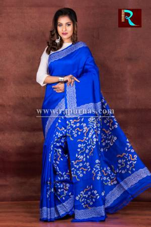 Sky Blue Printed Pure Silk Saree