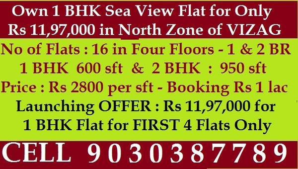 1 BHK Sea View flat for Only Rs  in North zone of