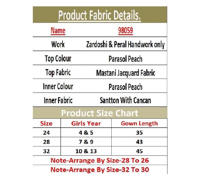 Textile Mall Designer Parasol Peach Kids Wear Top Gown