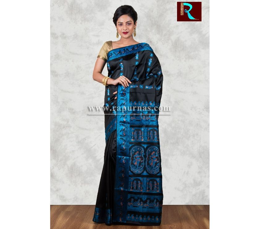 Baluchari Silk Saree of black and blue combo Kolkata