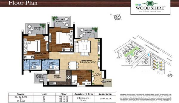 M3M Woodshire: 2/3 /4 BHK Air-Conditioned Apartment