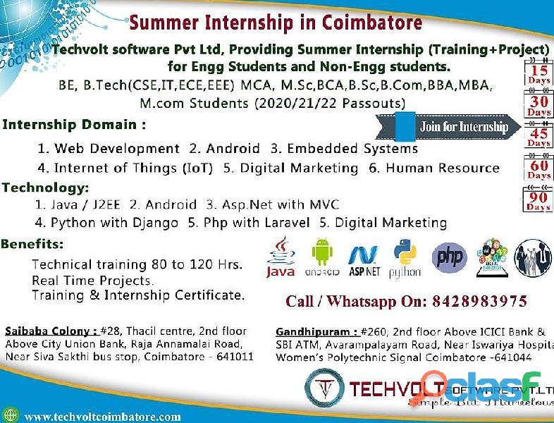 PHP| Mysql Summer Internship in Coimbatore