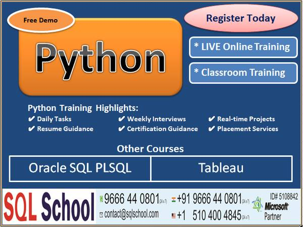 Python Training Free Demo JULY 23rd at 4 PM IST