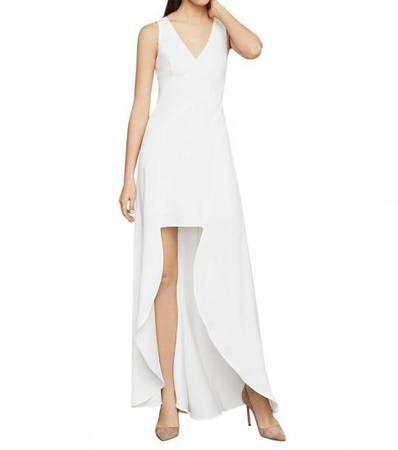BCBGMAXAZRIA Off White Sleeveless High Low Dress