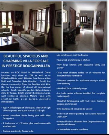 """""""A"""" TYPE Villa For Sale in PRESTIGE BOUGAINVILLEA"""