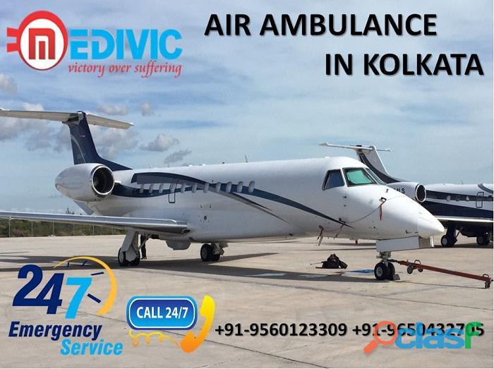 Hire Low Fare ICU Care Air Ambulance Service in Kolkata by