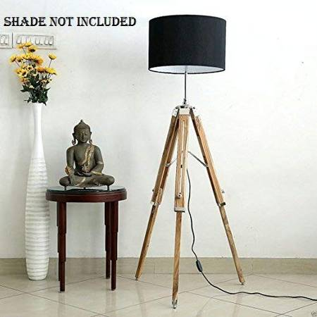 NAUTICALMART Teak Wood Big Tripod Floor Lamp Stand (70 Inch)