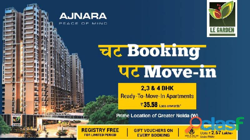 Ajnara Le Garden offers 2/3 and 4 bhk apartments Call us: