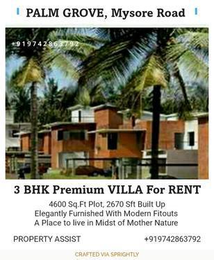 Palm GROVE: 3 BHK Elegantly Furnished Villa For RENT