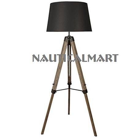 Designer's Teak Wood Tripod Floor Lamp for Living Room by