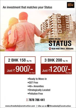 Affordable 2/3 BHK Luxurious Apartments in Mehsana