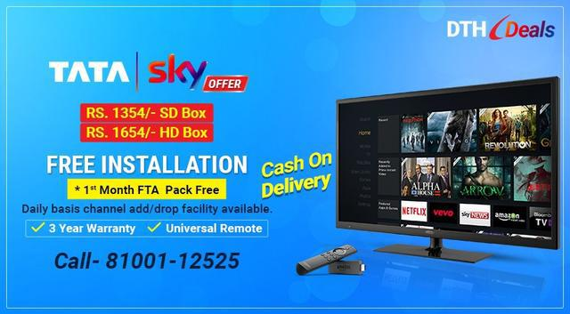 Free Installation and free 1st Month FTA pack with TATA Sky