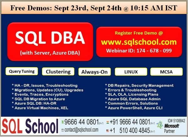 SQL Server DBA (Server T-SQL & Azure DBA) Training