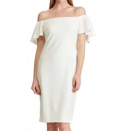 RALPH LAUREN Off White Crepe OffShoulder Dress