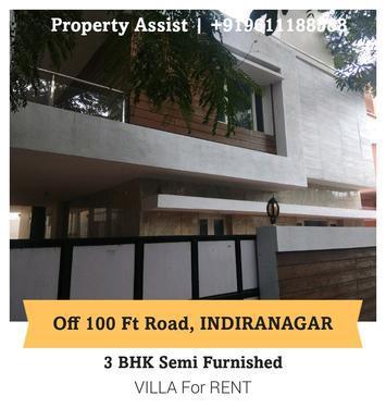 INDIRANAGAR 3 BHK Semi Furnished INDEPENDENT VILLA for RENT