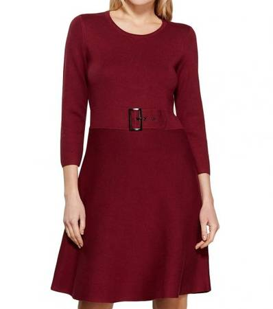 KARL LAGERFELD Maroon Fit & Flare Sweater Dress