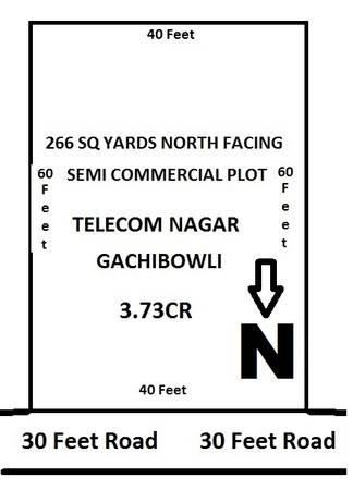 266 SQ YDS Semi Commercial North Facing Plot
