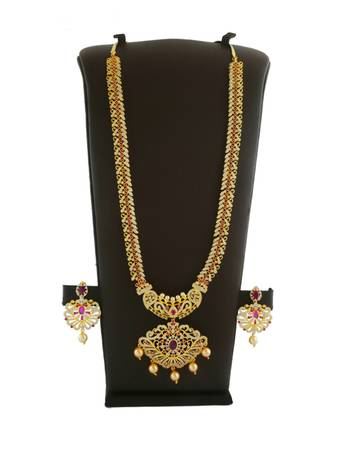 Buy latest gold long necklace designs collection at best