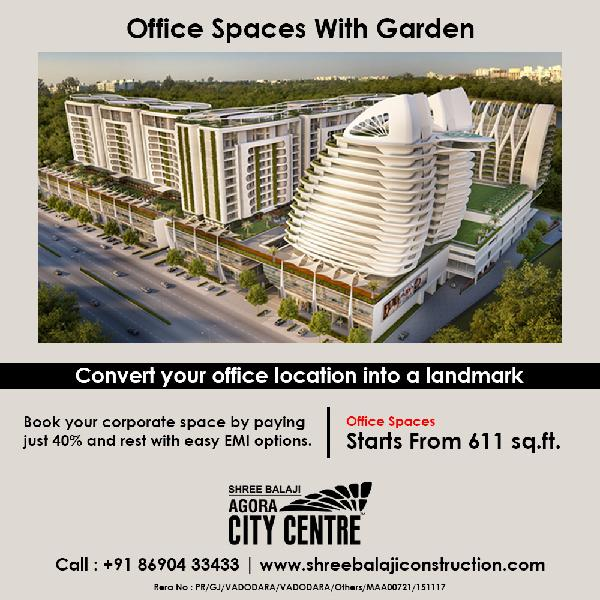 Office spaces with or without garden starts from 611 sqft