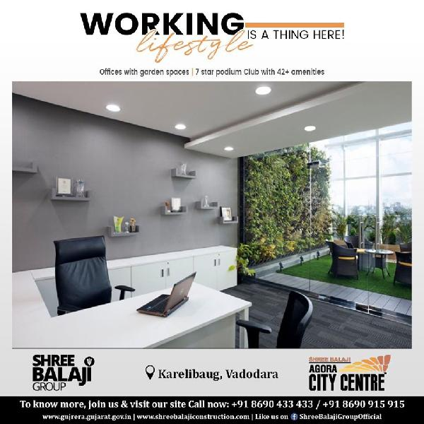 Office spaces with garden area starts from 611 sqft