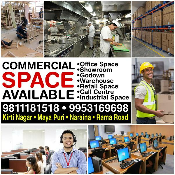 Office Godown Call Centre Warehouse for Rent in Kirti Nagar