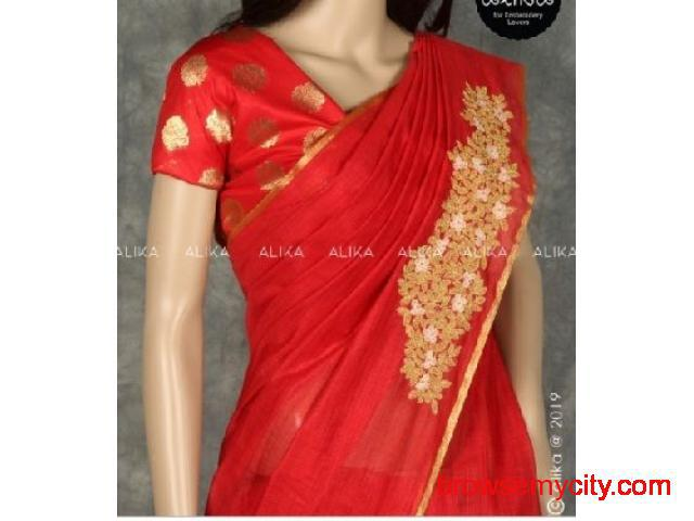 Chanderi Silk Saree with Embroidery for Sale