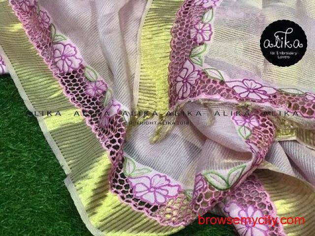 Pink Tissue Silk Saree with Cutwork by Alika Fabs
