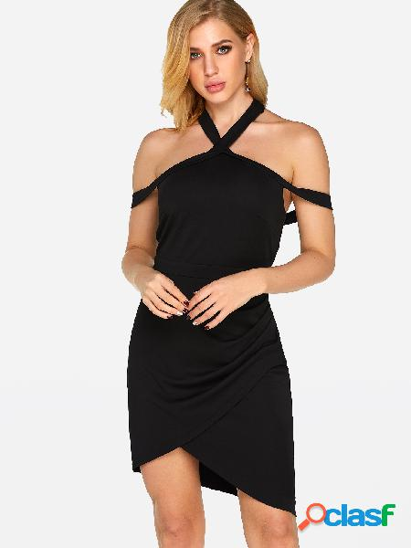 Black Halter Backless Cross Hem Party Dresses