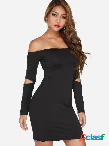 Black Plain Off The Shoulder Long Sleeves Party Dresses