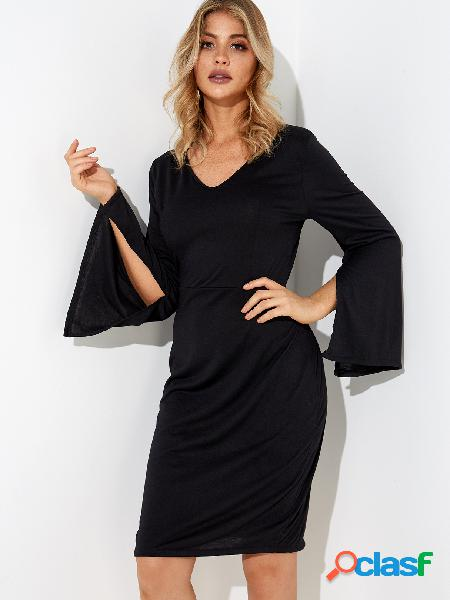 Black Plain V-neck Slit Design Bell Sleeves Party Dresses