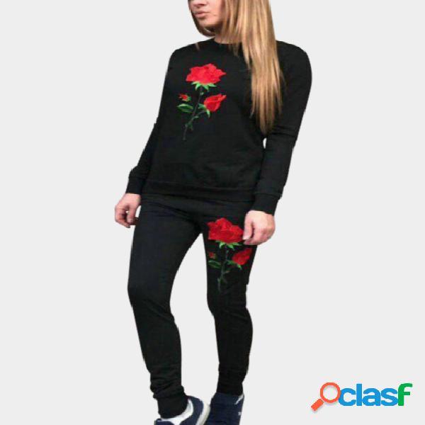Black Side Pockets Rose Embroidered Crew Neck Long Sleeves