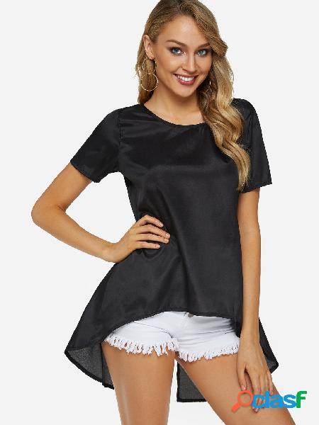 Black Slit Design Crew Neck Short Sleeves Top