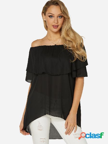 Black Tiered Design Off The Shoulder Short Sleeves Top