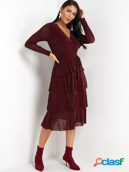 Burgundy Fullness+layer Wrap Design Party Dresses with Belt
