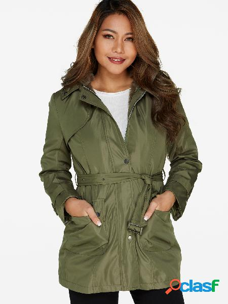 Green Fur LapelCollar Drawstring Waist Hooded Trench Coat