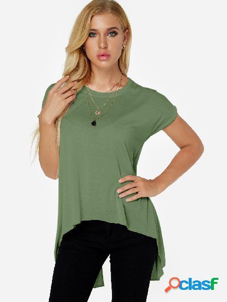 Green Slit Design Plain Crew Neck Short Sleeves High Low Hem