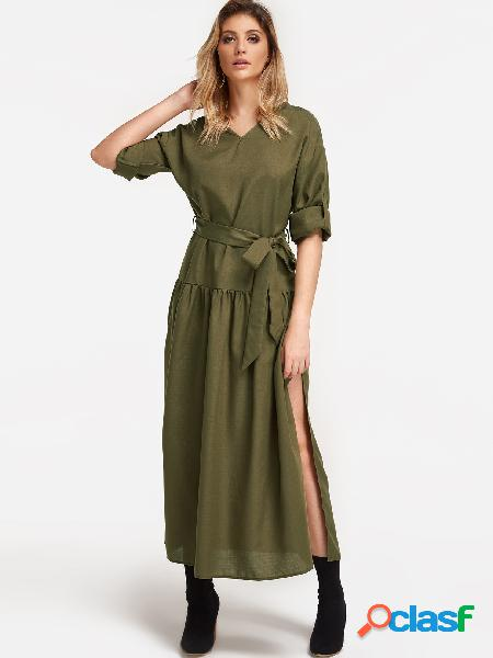 Green V-neck Slit Hem Maxi Party Dresses with Belt