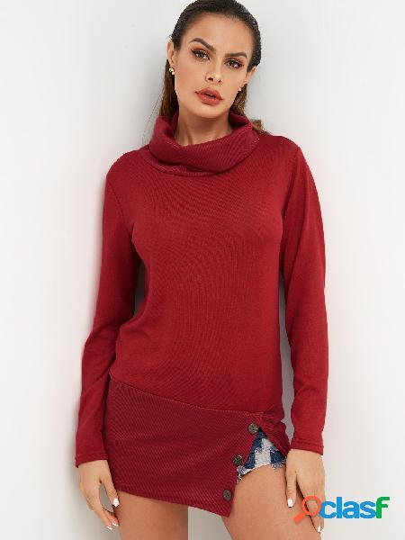 Red Button Design Plain Roll Neck Long Sleeves Slit Hem
