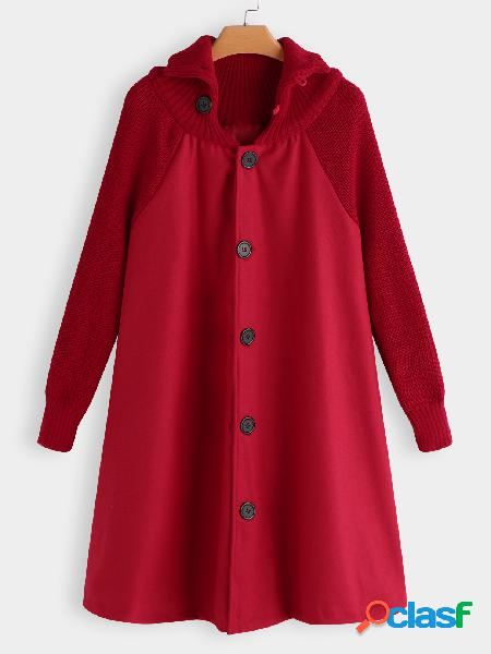Red Roll Neck Button-down Cable Ribbed Knitted Cape Trech