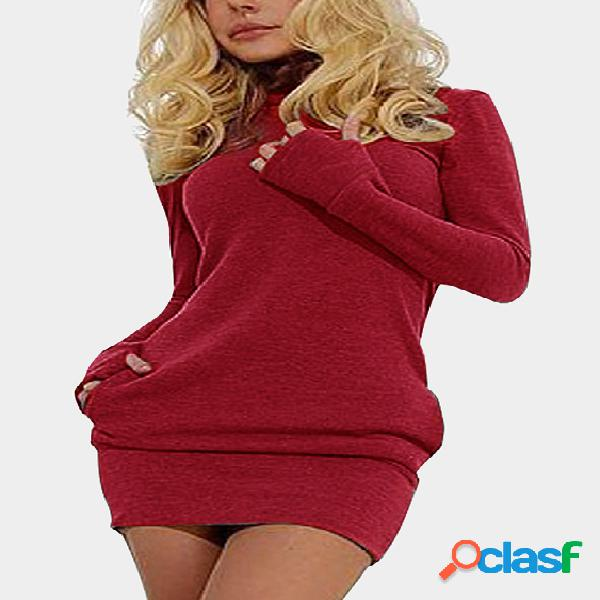 Red Roll Neck Casual Dress with Two Side Pockets