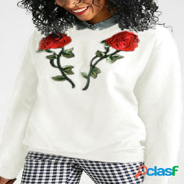 White Rose Embroidered Pattern Sweatshirt